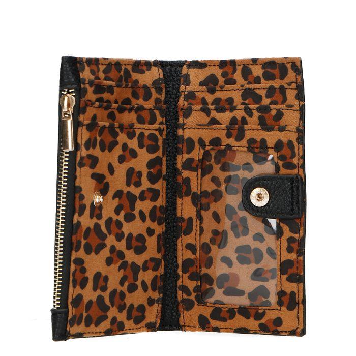 Schwarzes Portemonnaie mit Leopardenmuster