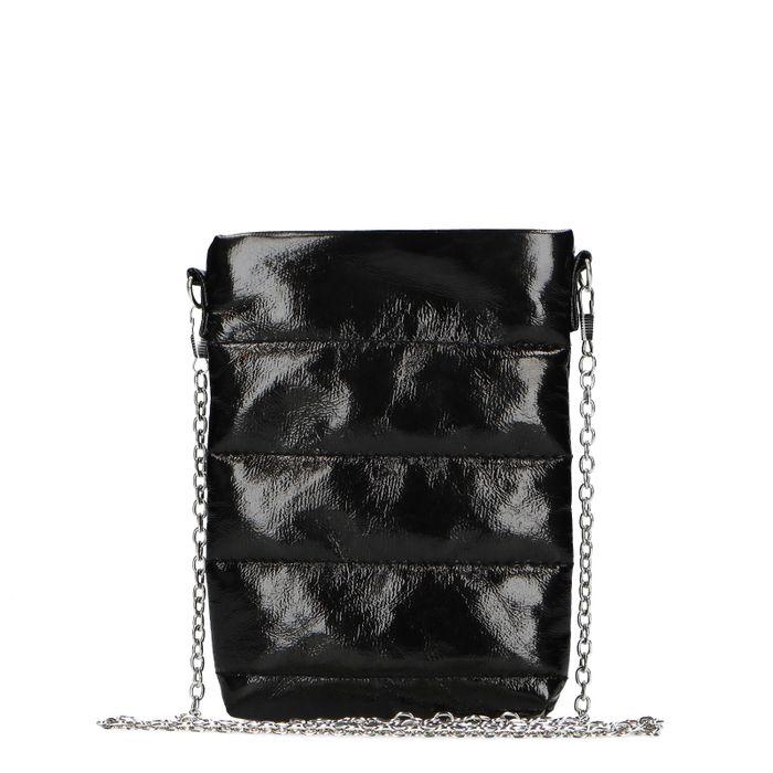 Schwarze Schultertasche aus Lackleder
