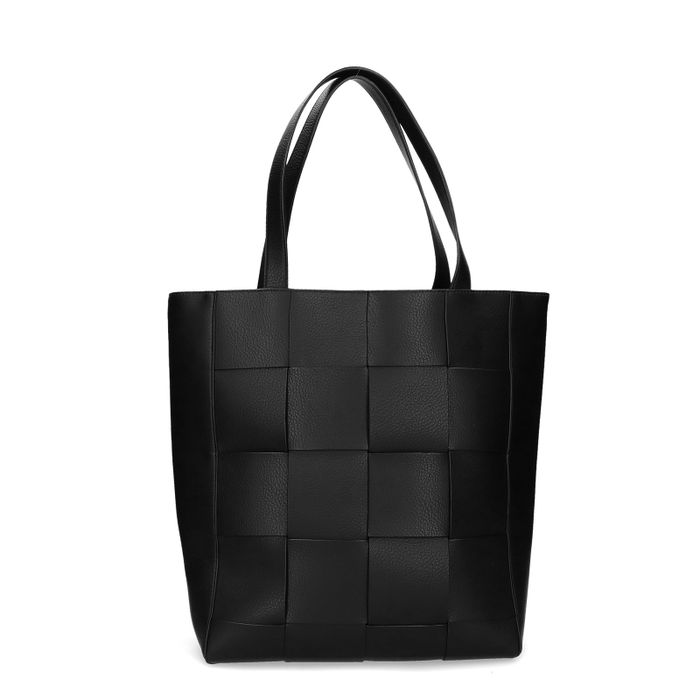 Schwarzer Shopper mit Flecht-Details
