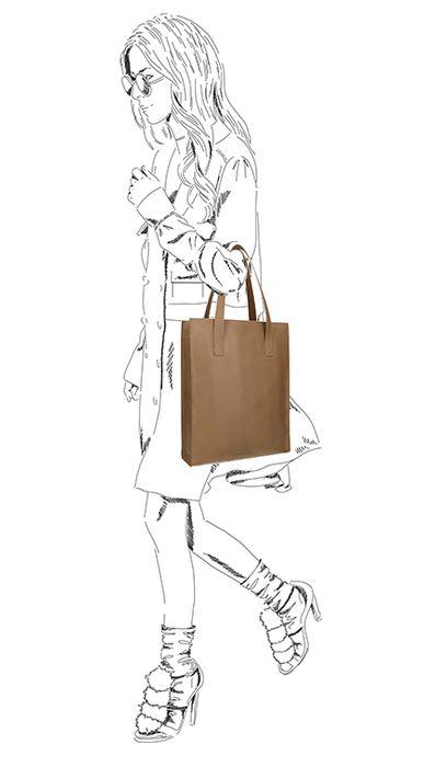 Beigefarbener Leder-Shopper mit Laptopfach