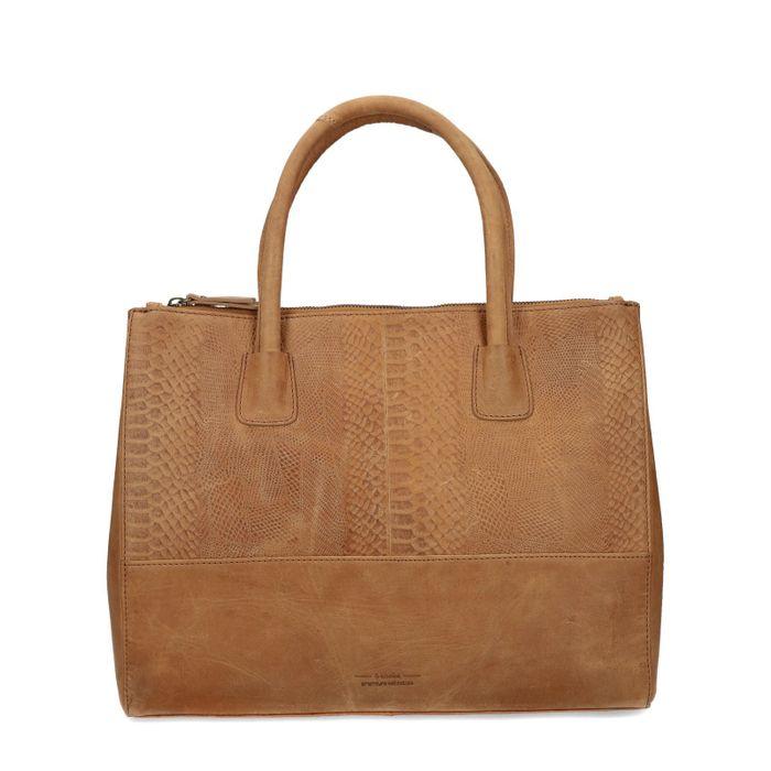 Cognacfarbene Leder-Handtasche mit Schlangenmuster