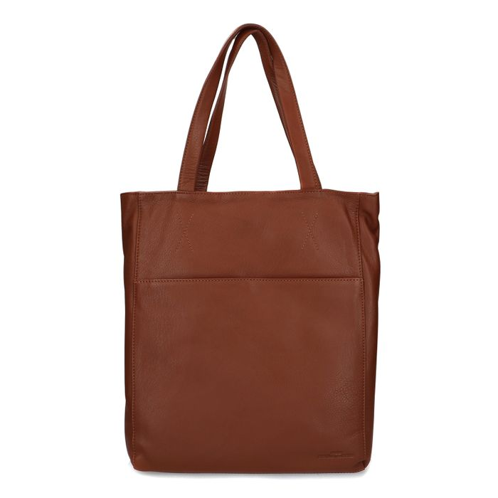 Cognacfarbener Leder-Shopper mit Laptopfach