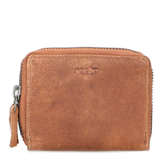 Cognacfarbenes Portemonnaie mit Kroko-Detail