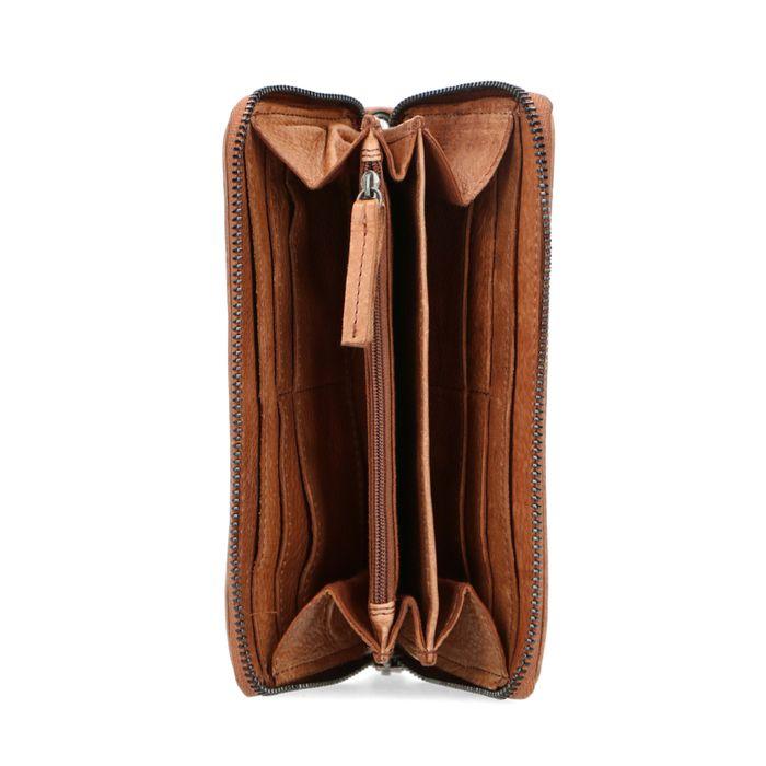 Cognacfarbenes Leder-Portemonnaie mit Kroko-Detail