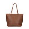 Cognacfarbene Handtasche mit silbernen Details