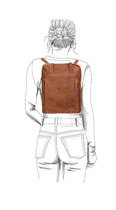 Cognacfarbener Lederrucksack mit Laptopfach