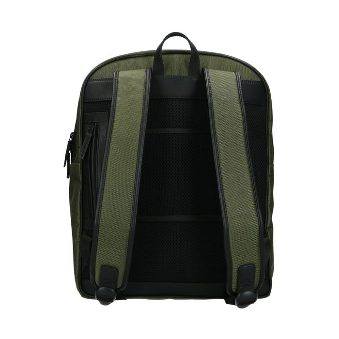 Grüner Lederrucksack mit Laptopfach