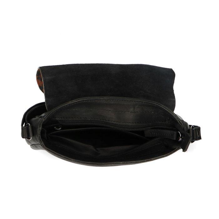 Schwarze Schultertasche in Fell-Optik