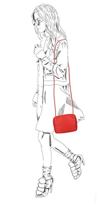 Rote Schultertasche
