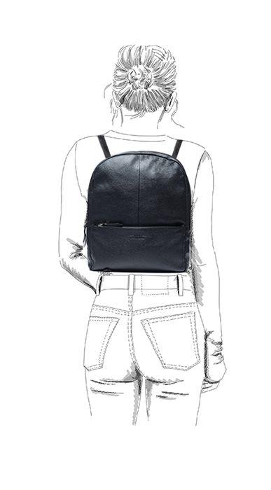 Schwarzer Leder-Rucksack