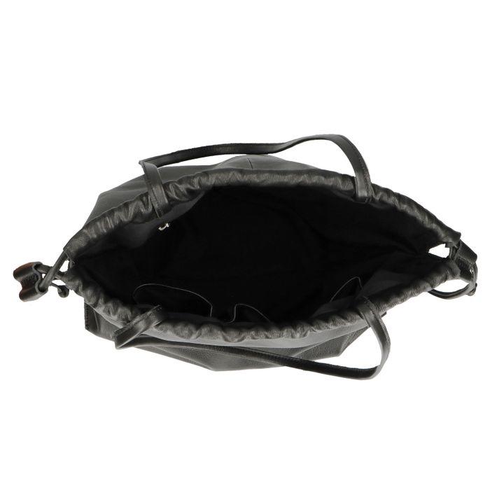 Schwarze Leder-Schultertasche