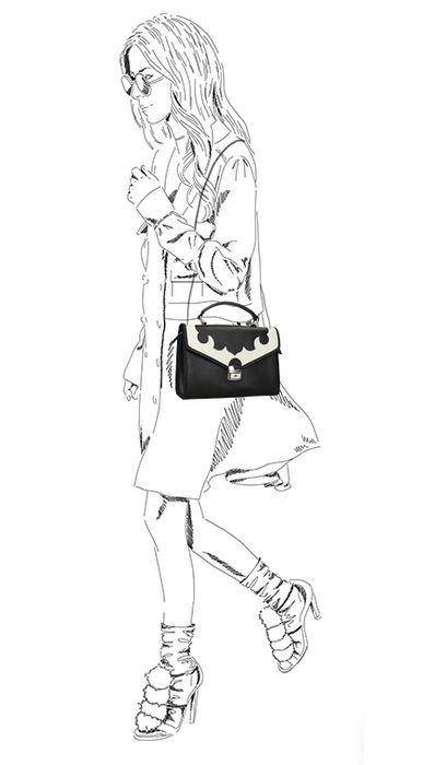 Schwarze Schultertasche mit weißen Details