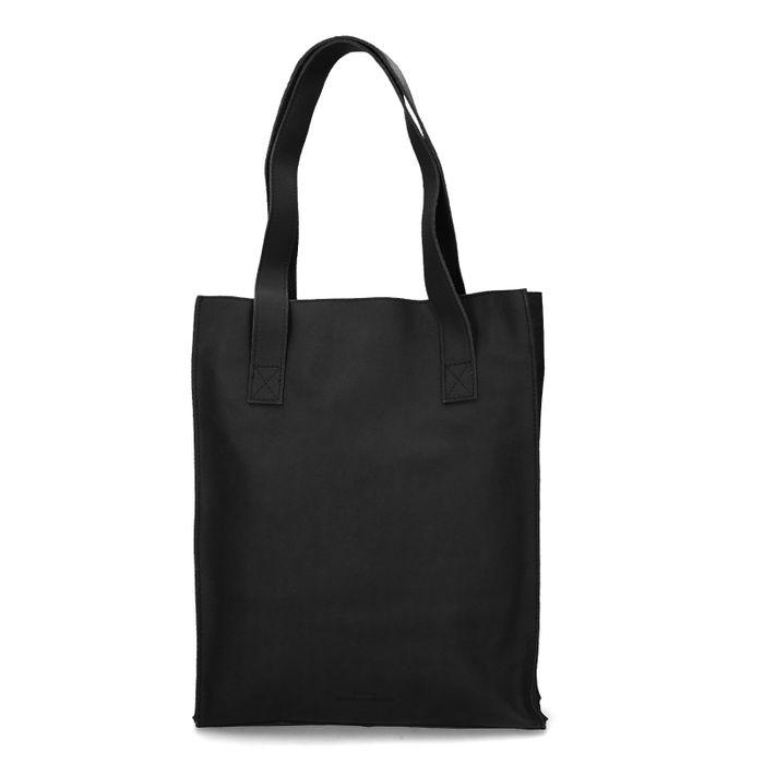 Schwarzer Leder-Shopper mit Laptopfach