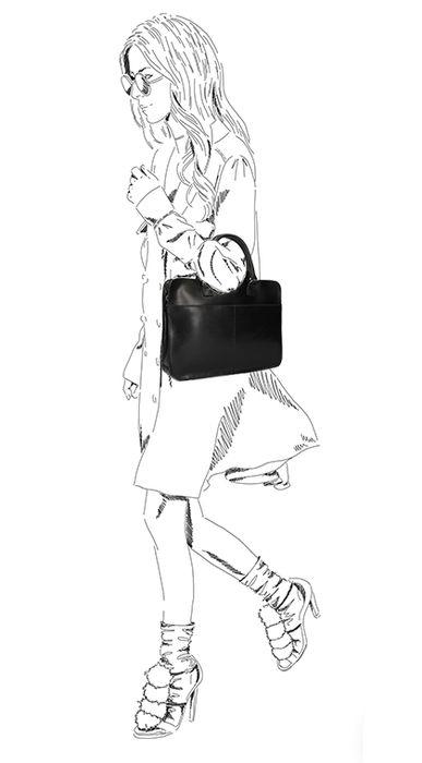 Schwarze Laptoptasche aus Leder
