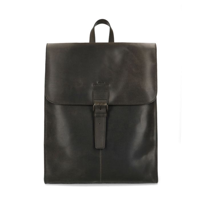 Schwarzer Leder-Rucksack mit Laptopfach