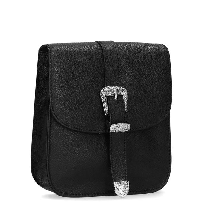 Schwarze Leder-Schultertasche mit Western-Details