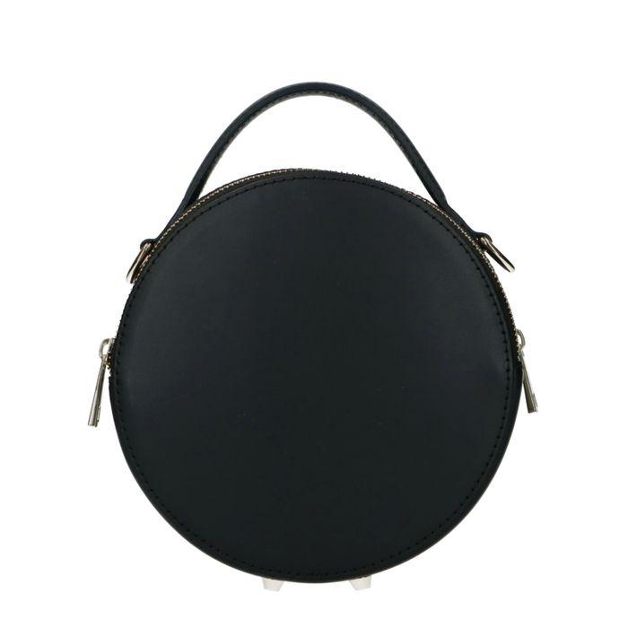Runde schwarze Tasche mit goldenen Reißverschlüssen