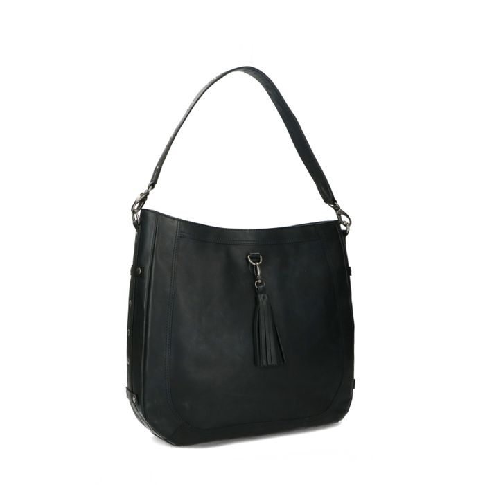 Schwarze Leder-Handtasche mit Details