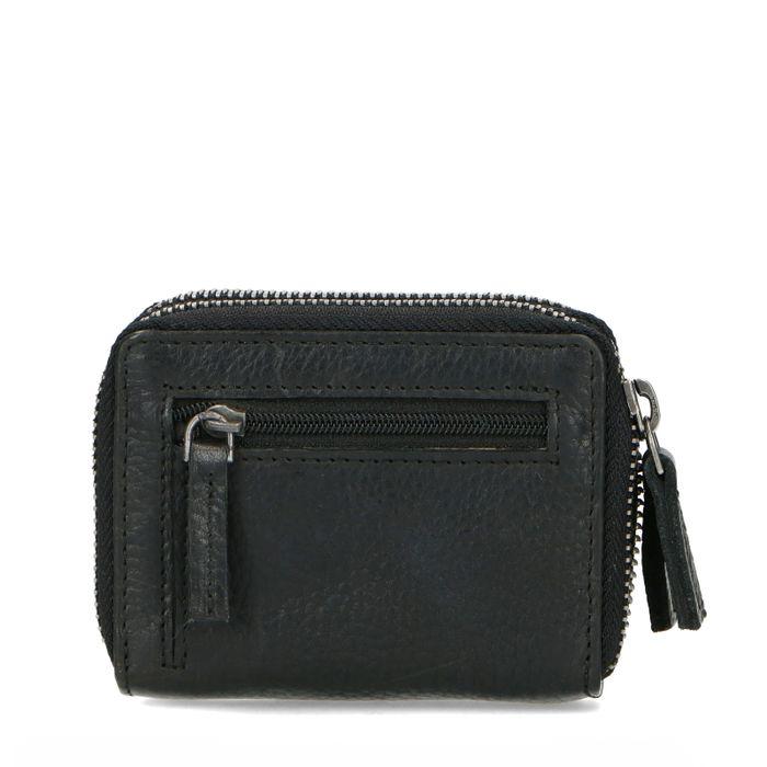 Schwarzes Portemonnaie mit Kroko-Detail