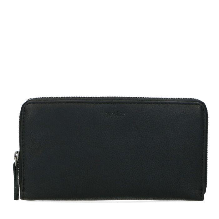 Schwarzes Leder-Portemonnaie mit Kroko-Detail