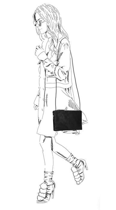 Schwarze Schultertasche aus Leder