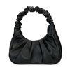 Schwarze Leder-Handtasche mit Falten-Details