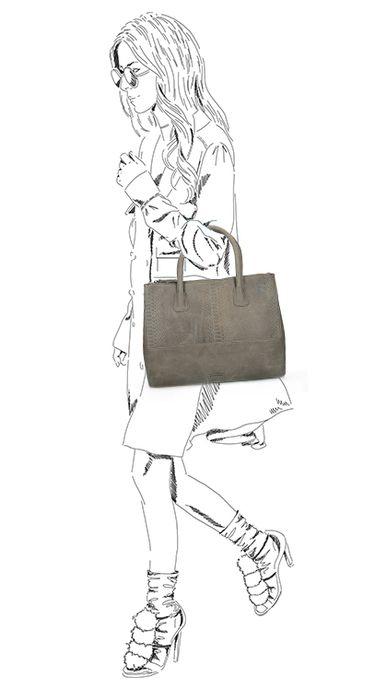 Taupefarbene Leder-Handtasche mit Schlangenmuster