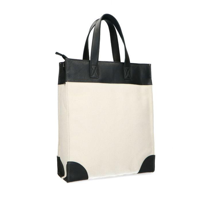 Offwhite Shopper mit schwarzen Details