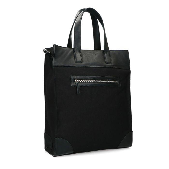 Schwarzer Canvas-Shopper mit Leder-Details