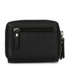 Schwarzes Leder-Portemonnaie mit doppeltem Reißverschluss