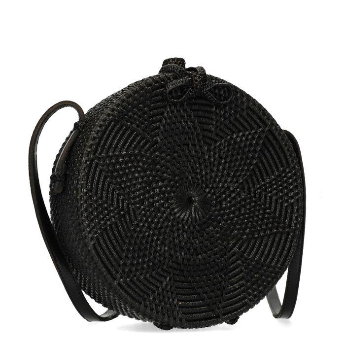 Schwarze runde Basttasche aus