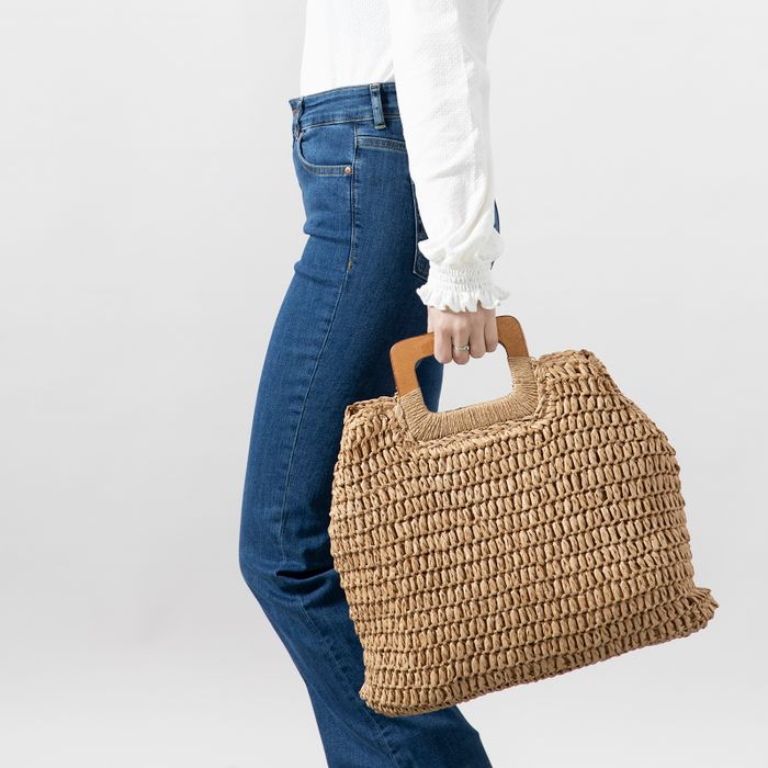 Naturfarbener Bast-Shopper