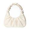 Beigefarbene Handtasche mit Falten-Details