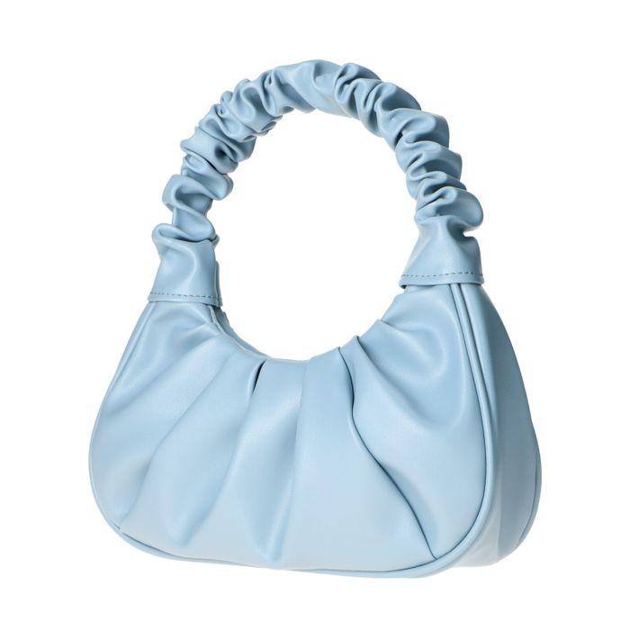 Blaue Handtasche mit Falten-Details