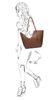 Cognacfarbene Handtasche mit Clutch