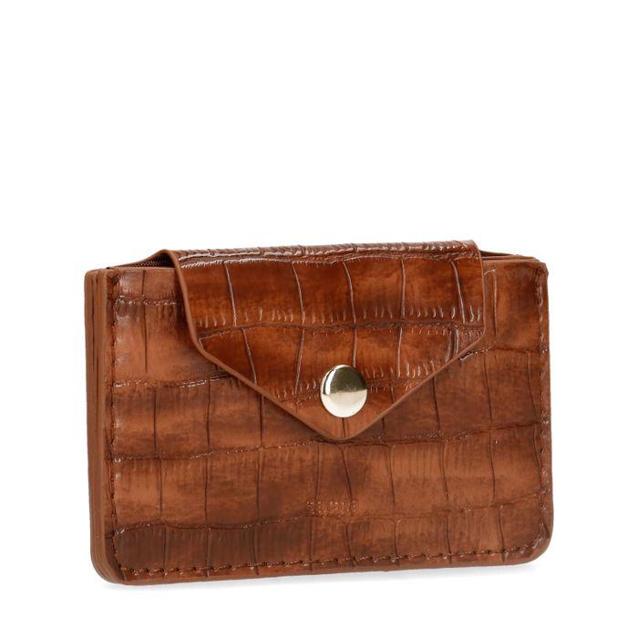 Cognacfarbenes Portemonnaie mit Krokomuster