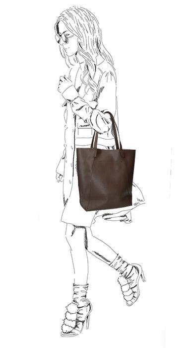 Dunkelbrauner Shopper mit Krokomuster