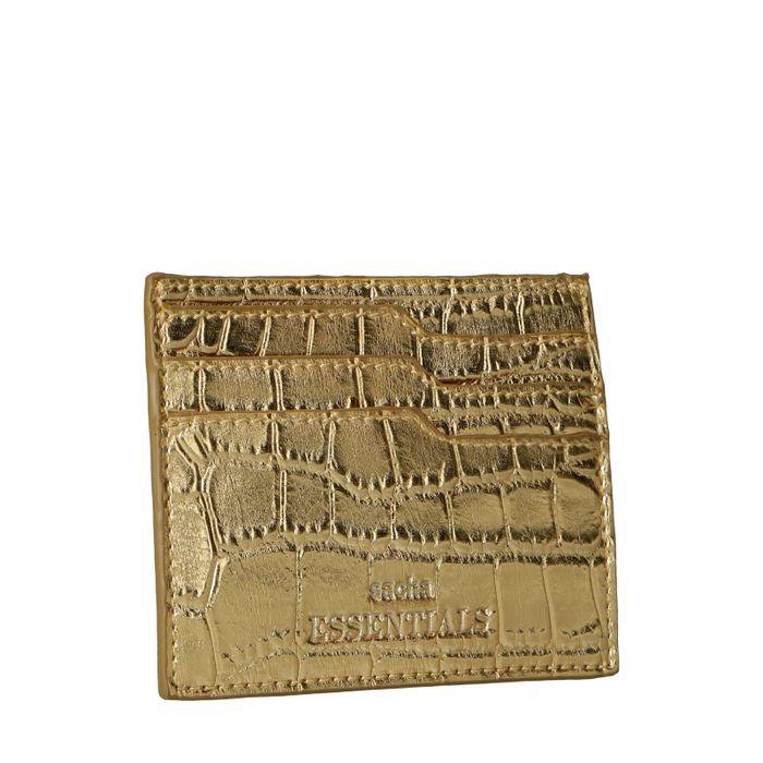 Goldfarbener Kartenhalter mit Krokomuster