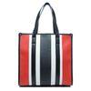 Gestreifte Handtasche in Schwarz/Weiß/Rot