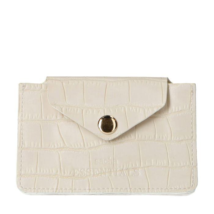 Offwhite Portemonnaie mit Krokomuster