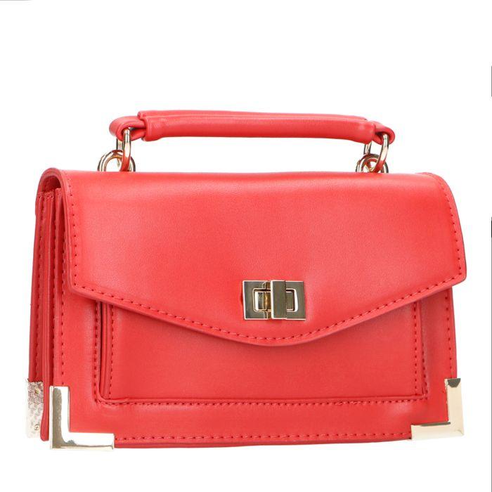 Rote Mini Bag mit goldenen Details