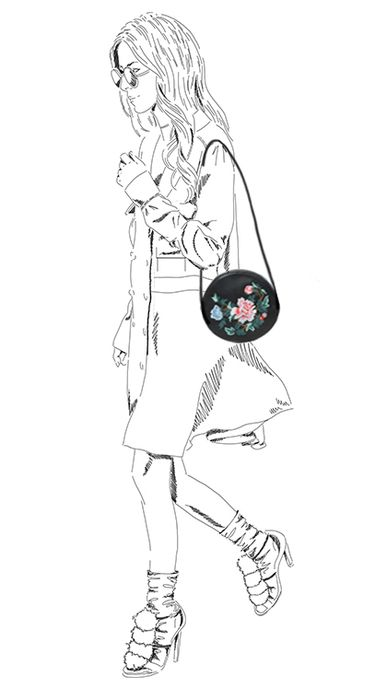 Schwarze Schultertasche mit Stickerei