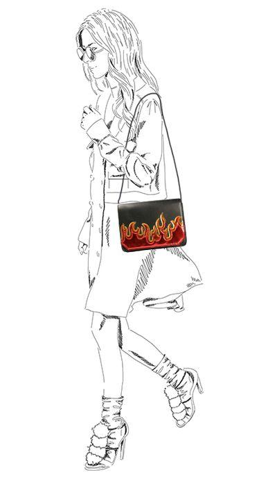 Schwarze Schultertasche mit Flammen