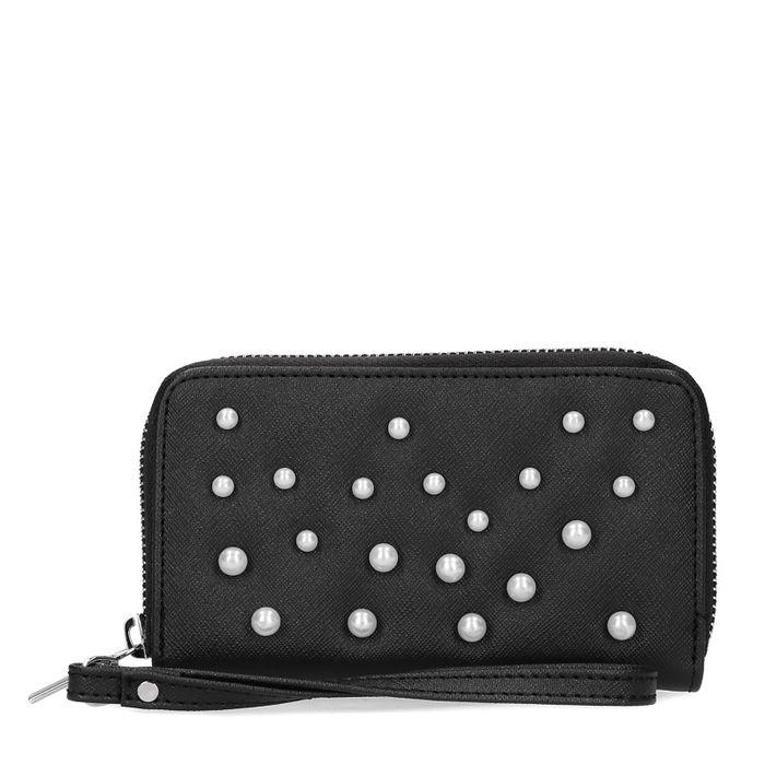 Schwarzes Portemonnaie mit Perlen