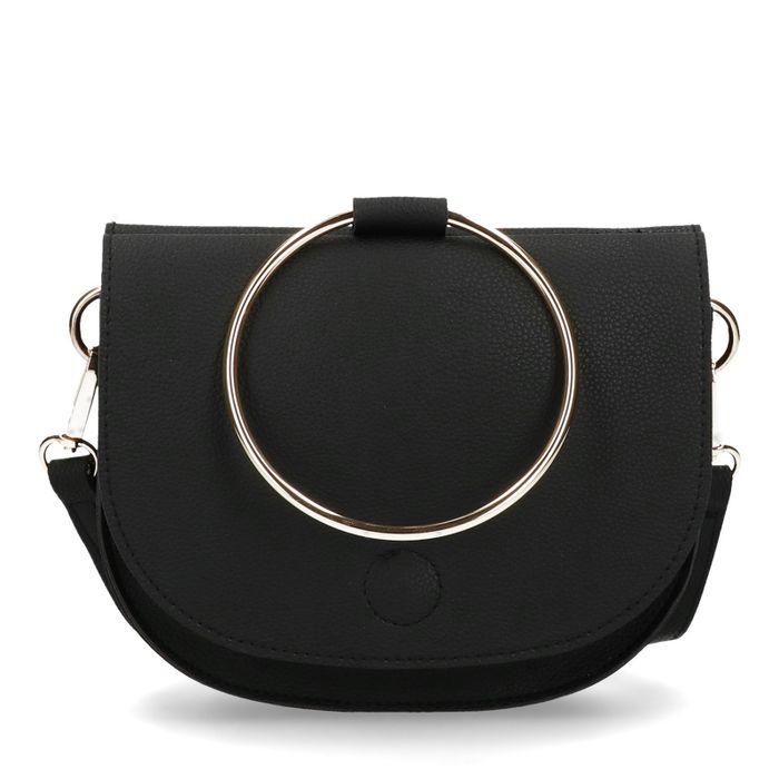 Schwarze Schultertasche mit rundem Henkel