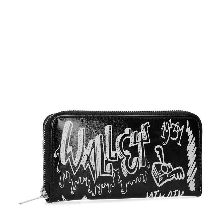 Schwarzes Portemonnaie mit Aufschrift