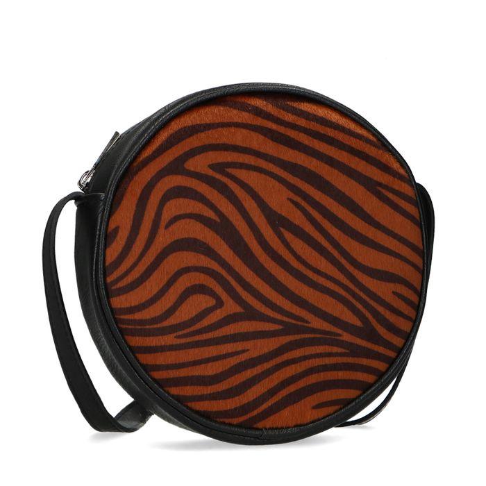 Runde schwarze Schultertasche mit Tigermuster