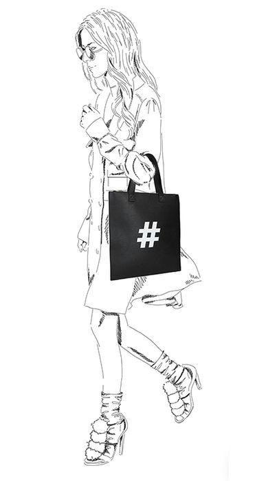 Schwarzer Shopper mit Hashtag-Aufdruck