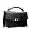 Schwarze Handtasche mit Krokomuster