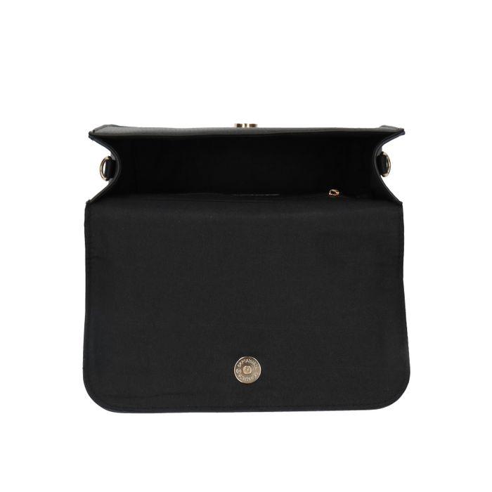 Schwarze Umhängetasche mit Kunstpelz